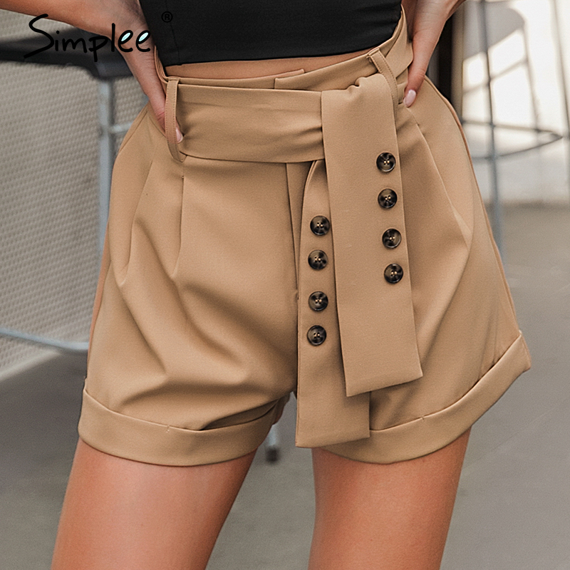 Simplee Casual Vintage Sash Belt Women Shorts Office Work Wear Blazer Short Pants Streetwear Solid Soft Female Bottom Shorts