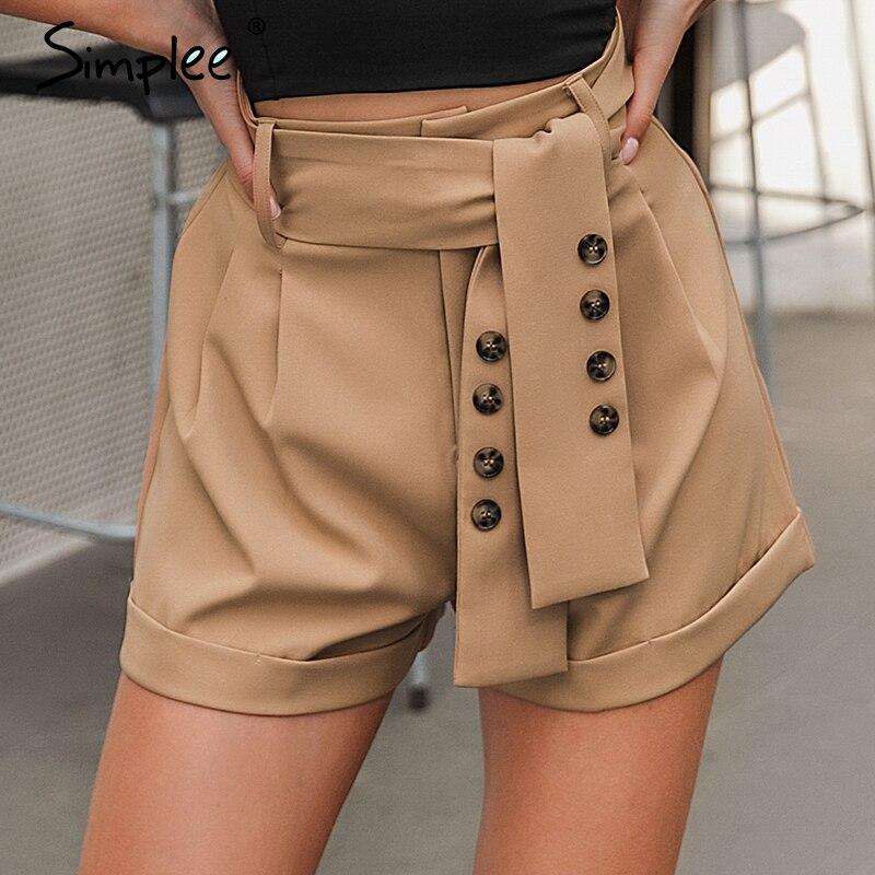Simplee Casual Vintage Sash Belt Women Shorts Office Work Wear Blazer Short Pants Streetwear Solid Soft Female Bottom Shorts