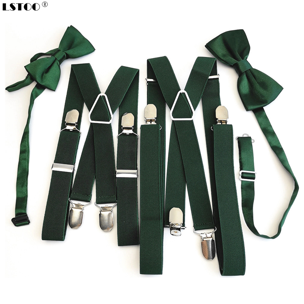 Blackish Green Men's Women Suspenders Bow tie Sets High Elastic Strap <font><b>Strong</b></font> 4 clips-on Suspender Neck tie set Adult Kids boys image