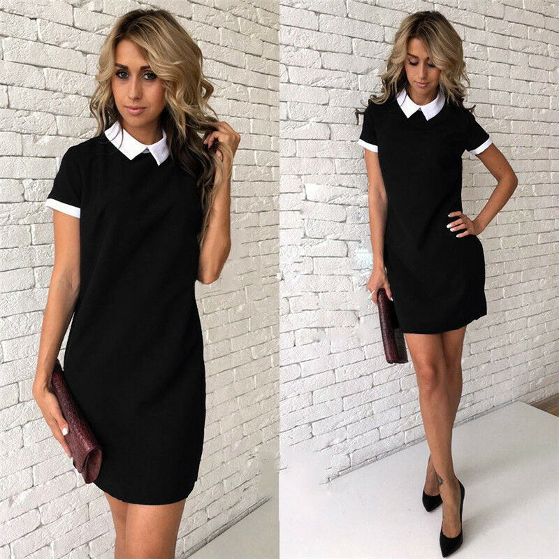 1PC Women Casual Long Sleeve Dress Party Cocktail Bodycon Short Mini Dress 2019 Women Clothes Turn Down Collar Preppy Style