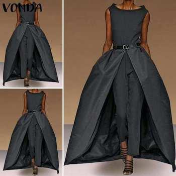 Fashion Rompers Womens Jumpsuits VONDA Female Summer 2020 Sleeveless Fake Two Pieces of Playsuits Mesh Pants Women Pantalon 5XL 3