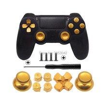 Conjunto de botões de metal para playstation 4, cromado analógico, acessórios de reparo para joystick de controlador ps4