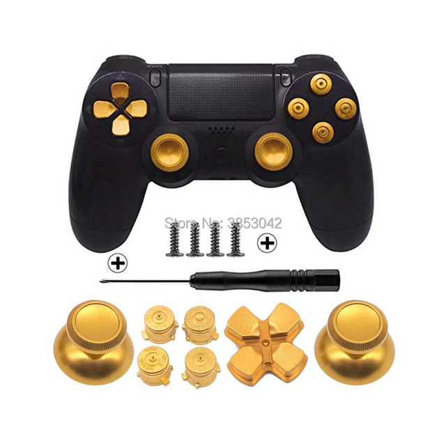 Metal Buttons Set Chrome Analog Thumbsticks For Playstation 4 D Pad for PS4 Controller Joystick Repair Game Accessories