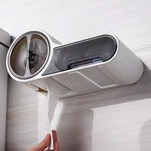 Wielofunkcyjny uchwyt na papier toaletowy pudełko na chusteczki plastikowy pojemnik do przevhowywania Box toaleta wodoodporna ściana wisząca rolkę papieru Tube Punch Free