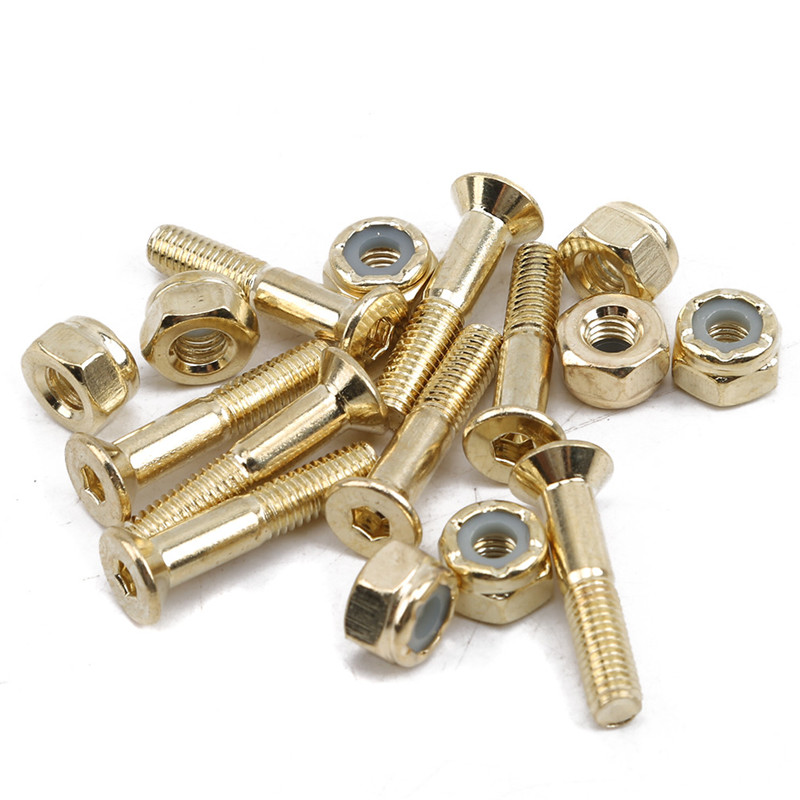 8 Pieces/ Set Cruiser Skateboard Hardware Screws Nuts Gold For Skateboarding Replacment Accesories