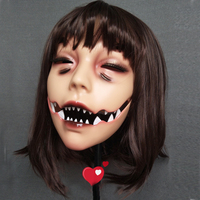 (Li 02)Female Resin Half Head Kigurumi Mask Without Eyes Cosplay Japanese Anime Role Mask Crossdress Doll