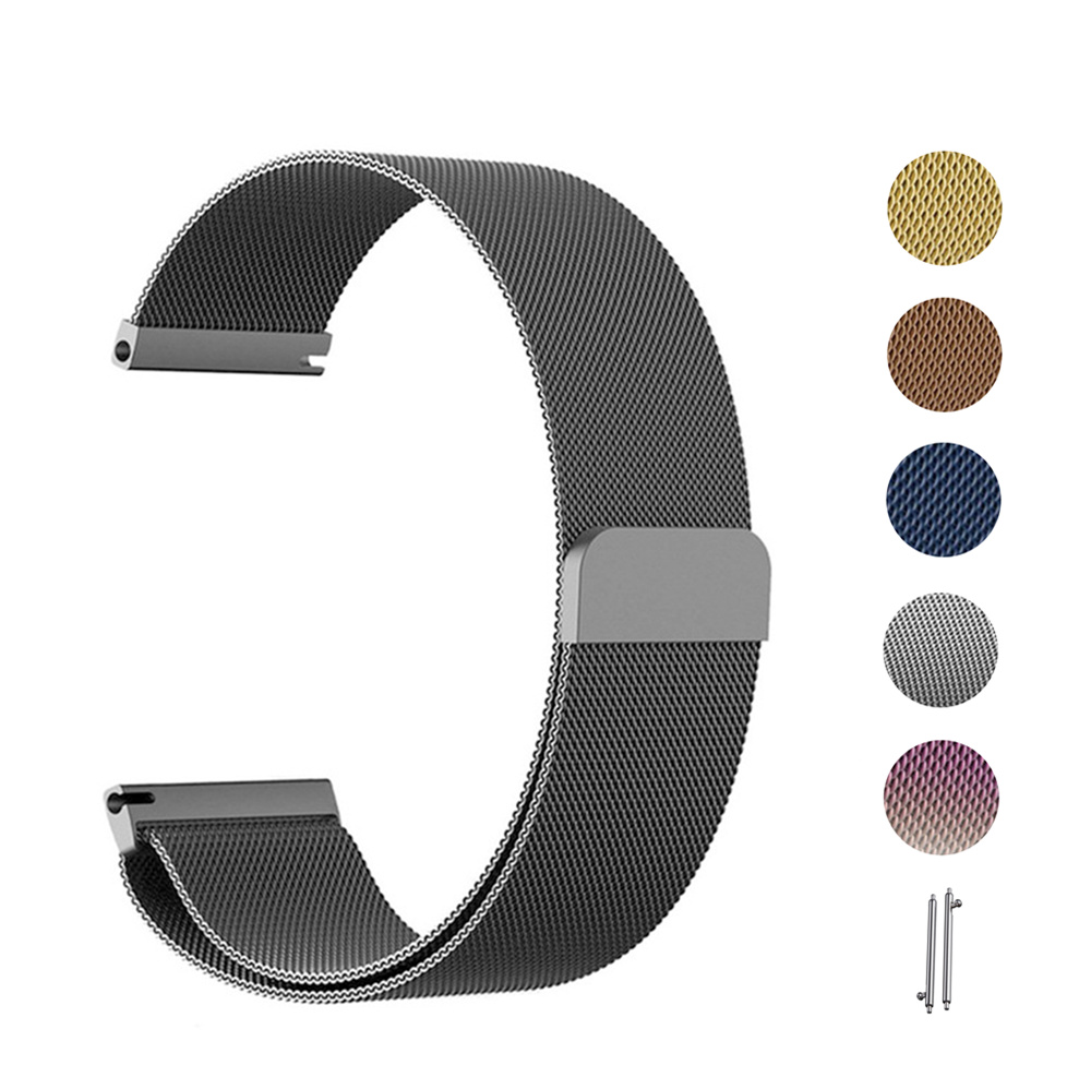 <font><b>20mm</b></font> <font><b>watchbands</b></font> for samsung Galaxy watch active 2 40 44mm Metallic stainless steel milanese 22mm wacth strap Universal 6 colors image