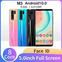 Versión Global M3 5,0 pulgadas 4GB RAM 64GB ROM 8 + 13MP Android 10 Smartphones 8 Core MTK6889 Dual SIM 4G LTE 5G teléfono celular