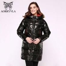 AORRYVLA długa damska kurtka puchowa 2020 gruba ciepła kurtka pikowana z kapturem bawełniana Parka Casual damska odzież wierzchnia odzież Plus rozmiar