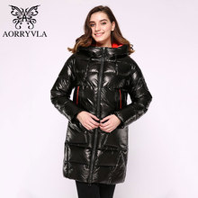 Aorryvlaロングの女性のダウンジャケット2020厚く暖かいフグジャケットフード付き綿パーカーカジュアル女性の上着の服プラスサイズ