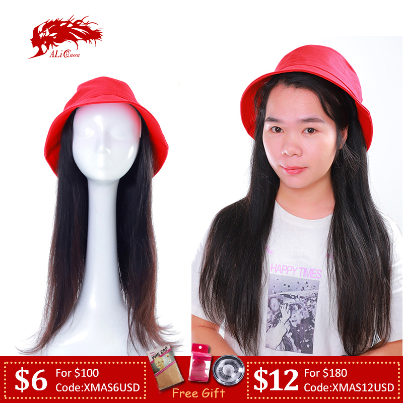 "Ali Queen Straight Hair With Red Bucket Hat Wig 12""-24"" Brazilian Straight Remy Hair Extention With Cap Wig"
