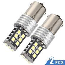 2 uds DC 12V Super LED blanco luz de indicación de giro de coche 1156 BA15S P21W 15 SMD 2835 bombilla LED de coche lámpara de freno automática de la luz de marcha atrás