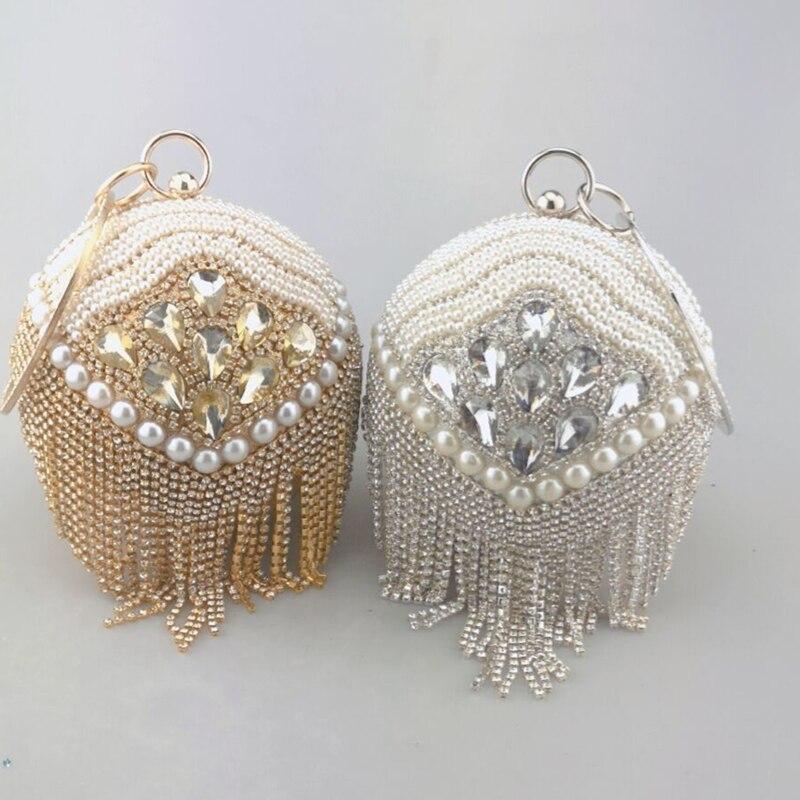 Design Gold Ball Wristlets Bag Women Silver Beaded Pearl Mini Tote Handbag Chain Lady Wedding Bridal Evening Purse Clutch Bag