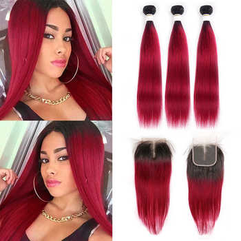 1B 99J/Burgundy Human Hair Bundles With Closure KEMY HAIR Brazilian Straight Ombre Hair Weave Bundles With Closure 4x4 Non-Remy - DISCOUNT ITEM  44% OFF All Category