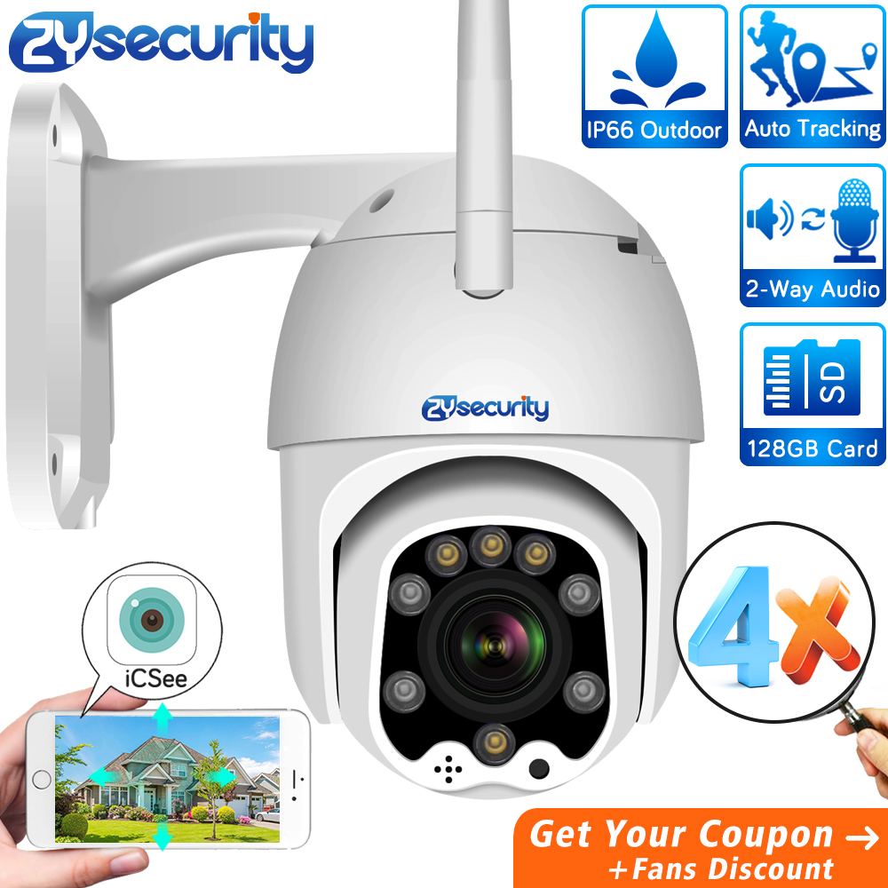 1080p 4X Auto Zoom WiFi PTZ IP Camera Outdoor Wireless Speed Dome Camera Auto Tracking CCTV Security Surveillance Camera ICSee