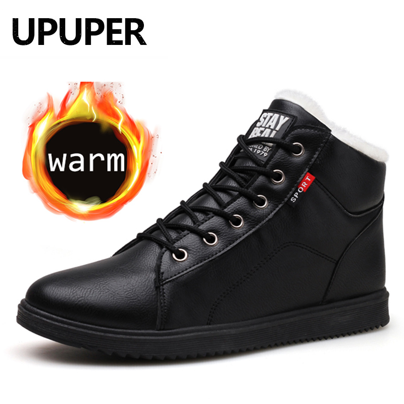 UPUPER 2020 Men's Winter Shoes Leather Ankle Boots For Men Winter Sneakers With Fur Plush Warm Shoes Men Footwears Casual Flats