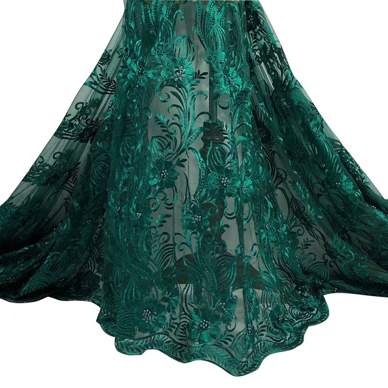 African Tulle Lace Fabric 2020 High Quality Nigeria Embroidery With Beaded French Tulle Lace Fabric For African Women Dress