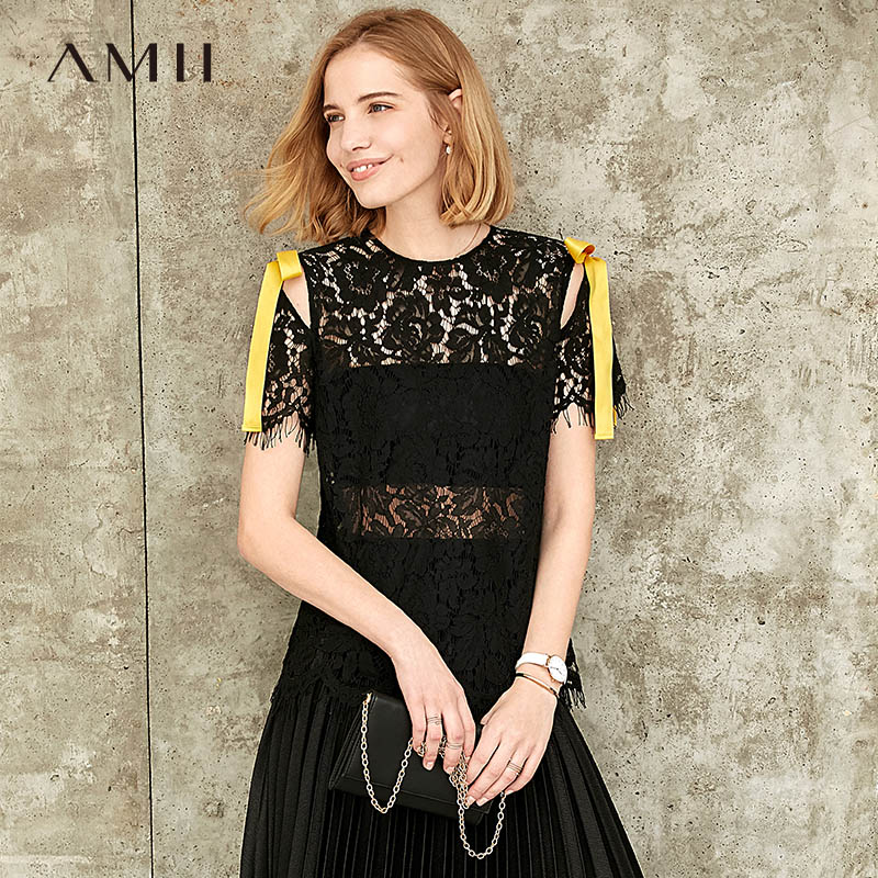 Amii Minimalist Women Lace T-shirt Summer Fashion Hollow Out Bandage Tassel Slim Female Tops 11980057