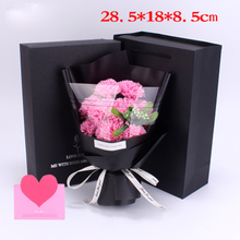 1 Bouquet Artificial Soap Rose Carnation Flower 9 Soap Bouquet Gift Box Rose Bouquet Valentine Day Gift Wedding Decoration недорого