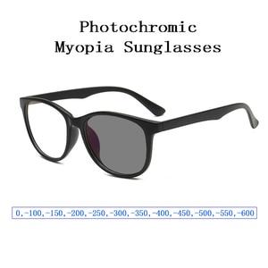 Image 1 - New Fashion Photochromic Myopia Sunglasses for Women Men Retro Nearsighted Glasses Students Shortsighted Eyeglasses 0, 1~ 6 L3