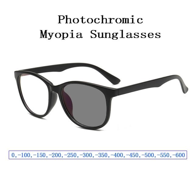 New Fashion Photochromic Myopia Sunglasses for Women Men Retro Nearsighted Glasses Students Shortsighted Eyeglasses 0, 1~ 6 L3