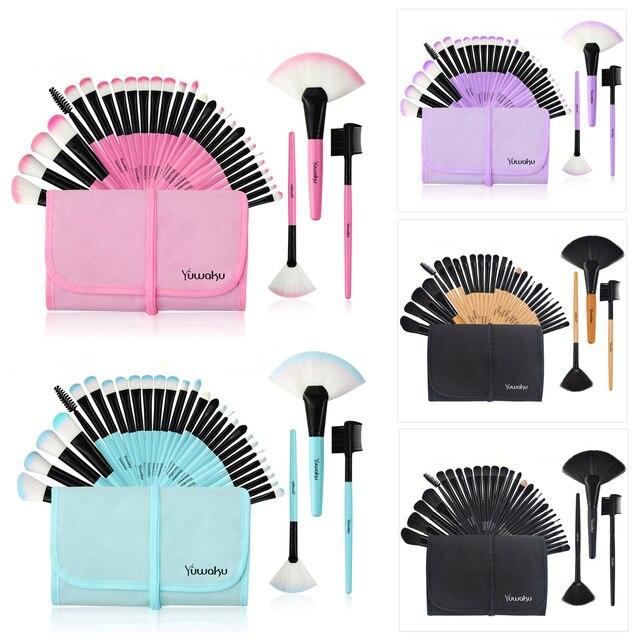 Kaizm 5 Colors 32Pcs Makeup Brush Foundation Eye Shadows Powder Brushes with Bag pincel maquiagem Brushes Kits Cosmetic Brushes 5