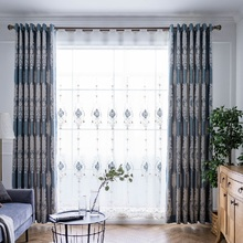 New High-end European and American Blue Shading Curtains for Living Dining Room Bedroom.