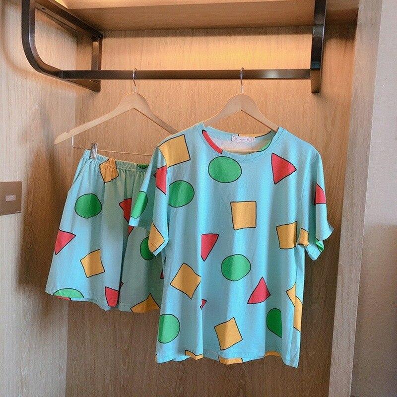Pijama Sin Chan Women's Pajamas for Woman Summer Sleepwear Suits with Shorts Pajama Set Home Clothes Pyjamas Sinchan 2021