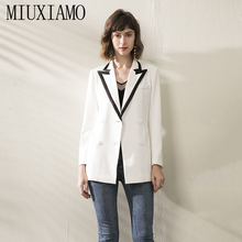 MIUXIMAO TOP QUALITY 2019 Newest Fall Winter Jacket Runway Double-Breasted Women