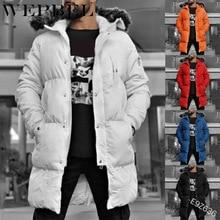 Mandylandy Men's Faux Fur Hooded Parka Coat Slim Zipper Padded Jacket Winter Warm Thickening Windbreaker Overcoat Coat Plus Size