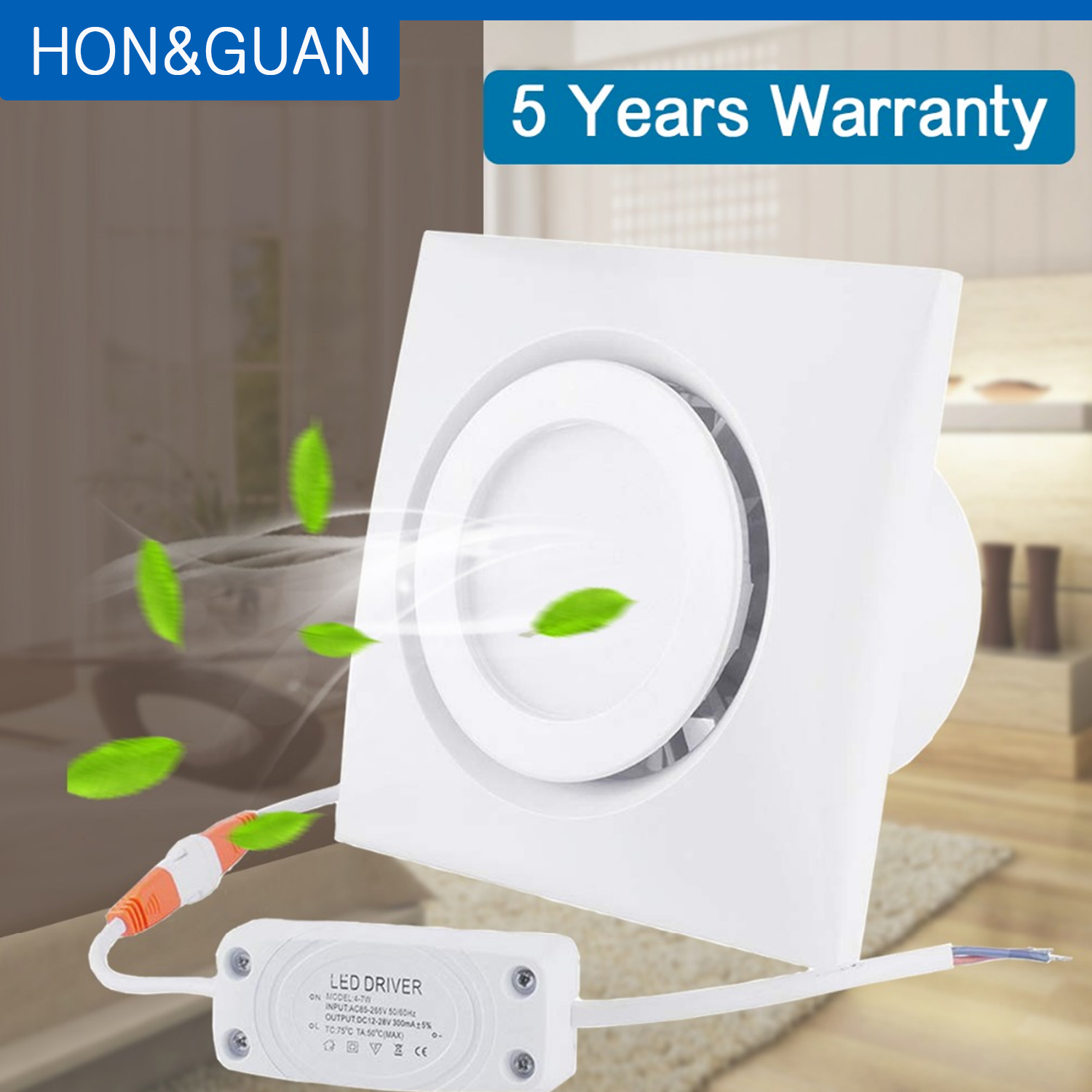 4 inch Home Ventilation Fan Bathroom Exhaust Fan Ceiling, Window and Wall Mount Fan, Built-in 4W LED Light with Led Driver