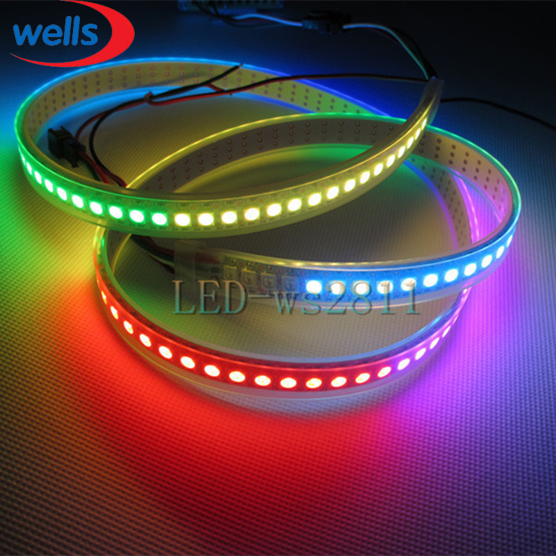 Image 4 - 144 pikseli 1m diody LED WS2812B 2812 WS, 2812 Chip LED WS2811 IC cyfrowy 5050 SMD listwy RGB LED DC5Vstrip necklacestripped wallpaperstrip rgb -
