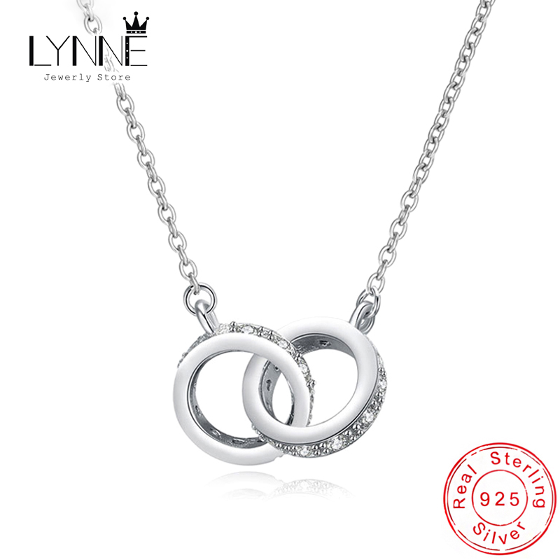 New Fashion 925 Sterling Silver Double Round Pendant Neckalce Rose Gold Rhinestone Double Circle Necklace For Women Jewelry Gift