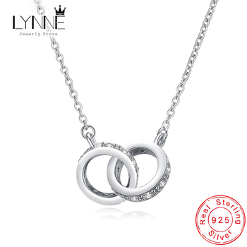 New Fashion 925 Sterling Silver Double Round Pendant Neckalce Rose Gold Rhinestone Circle Necklace For Women Jewelry Gift