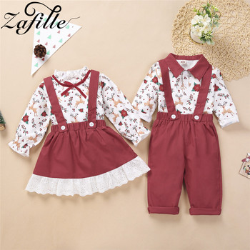 ZAFILLE Christmas Clothes Set Sister and Brother Outfits Christmas Toddler Girl Set Boy Overall For Kids Clothes For Girl