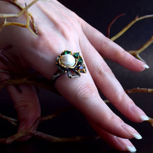 2021 в винтажном стиле с цветочным принтом кольца зеленый цирконий