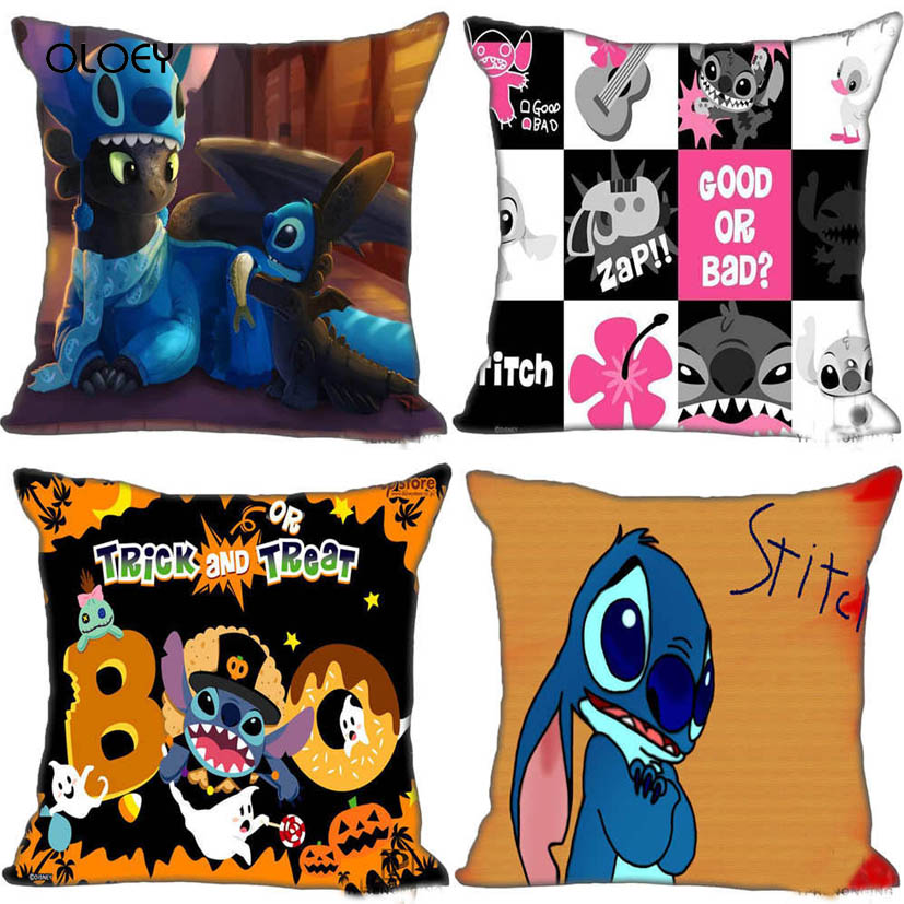 Best Custom Stitch And Toothless Pillow Case Bedroom Square Zip Pillow Case Home Bedroom Hotel Car Decoration 45x45cm (One Side)