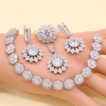 Flower White Cubic Zirconia Silver Color 925 Jewelry Sets For Women Stud Earring Bracelet Ring Necklace Pendant Free Gift Box