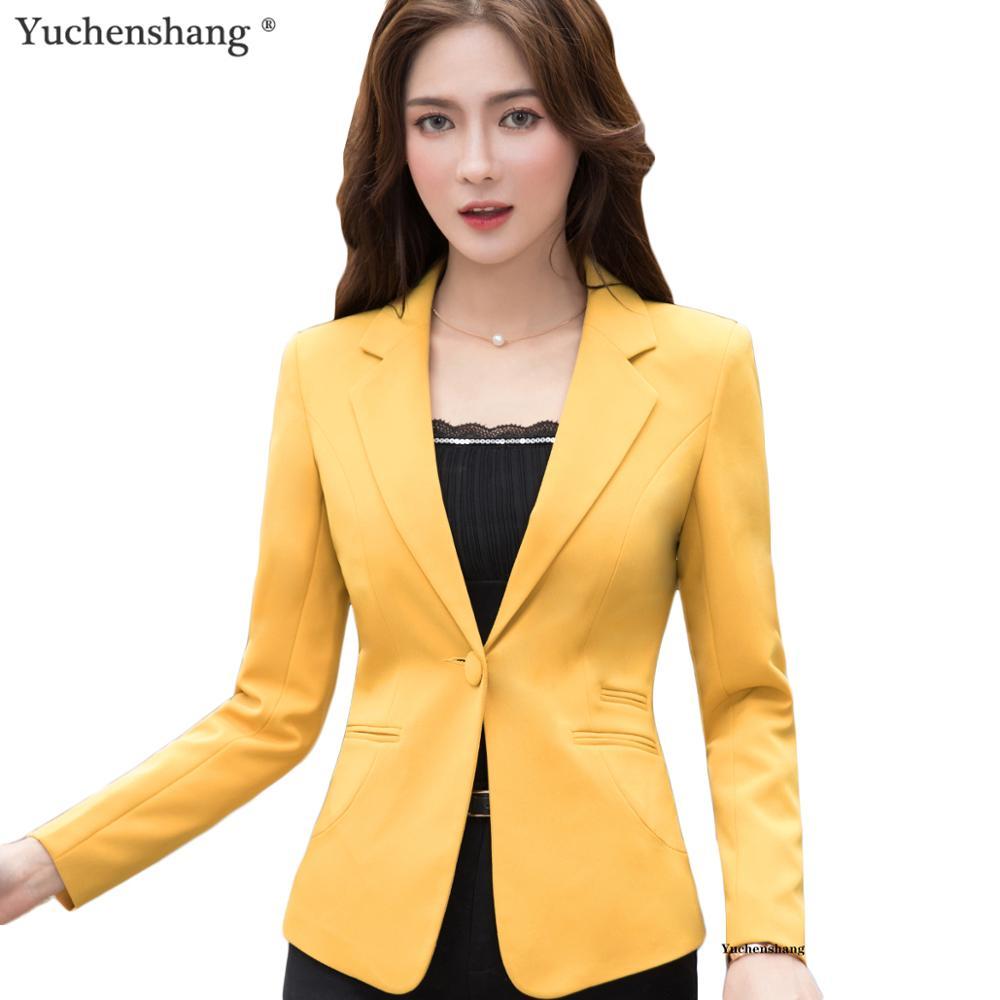 2019 New Plus Size 4XL Female Coats Blazer Spring Summer Long Sleeve One Button Jacket Women Yellow Jackets Office Blazer