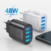 Caricabatterie rapido USB 48W caricabatterie rapido 3.0 US/EU per iPhone 12 11 3A ricarica rapida per caricabatterie per cellulare Xiaomi