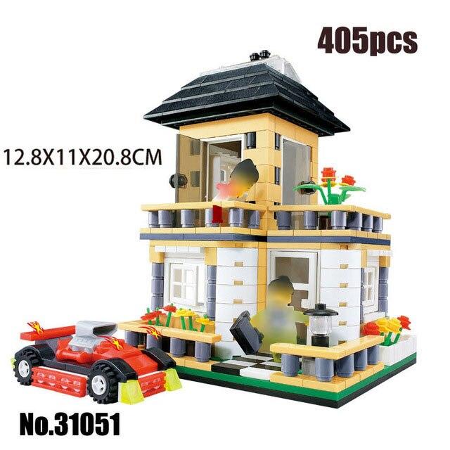 Городская архитектура вилла модель коттеджа Совместимость Legoingly друзья пляж хижина модульный дом деревенские строительные блоки детские игрушки - Цвет: 31051