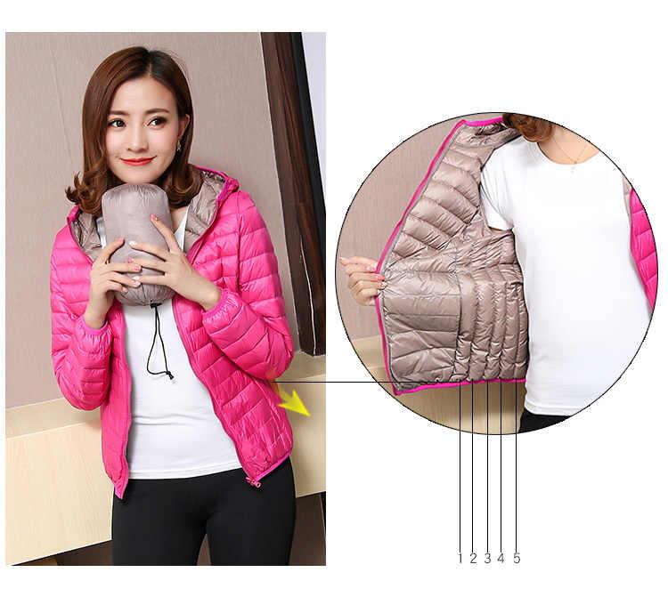 Herbst Winter Frauen Ultra Licht Unten Jacke Ente Unten Doppel Seite Jacken Warme Kurze Mantel Parka Outwear Plus Größe 4XL