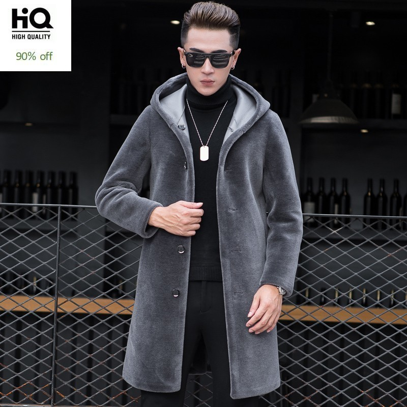 Luxury Shearling Men Overcoat Business Casual Slim Real Fur Sheep Shearing Hooded Long Coat Brand Winter Blazer Coat Plus Size