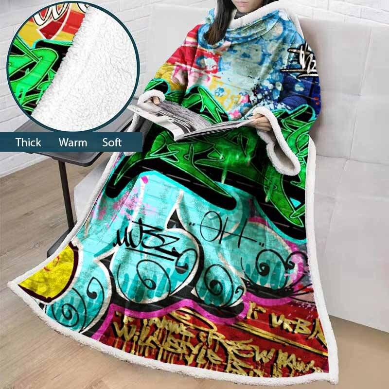Lannidaa bande dessinée verte créative lettre jeter couverture manches colorées portable canapé sieste couverture mode TV couverture manteau couvertures