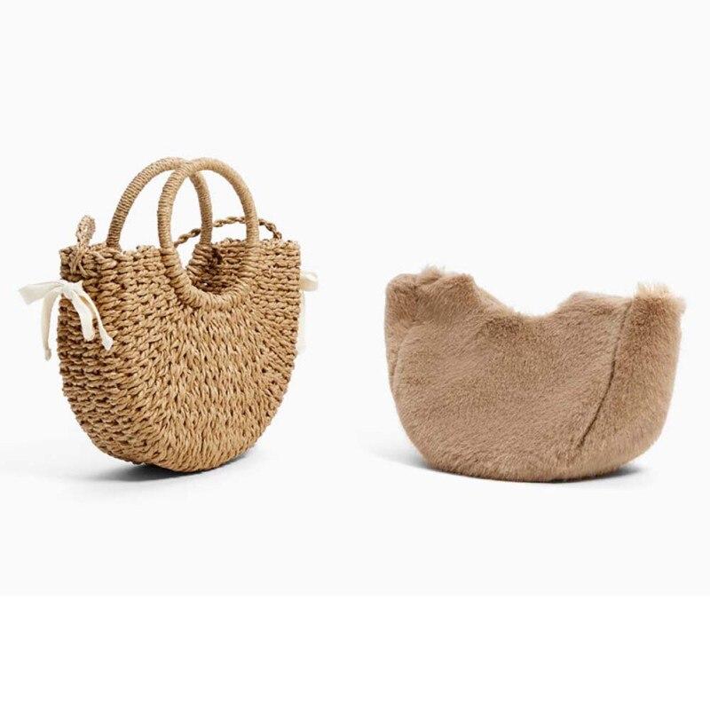 Winter Women\'s Woven Bag Plush Straw Small Handbag Plush Jacket Mini Basket Straw Bag For Shopping And Beach Bags