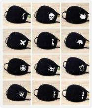 Black Cartoon Animal Mask Printed Lightning Dustproof Cycling Muffle Unisex Winter Thicken Cotton Half Face Mouth Mask 20*12.5CM
