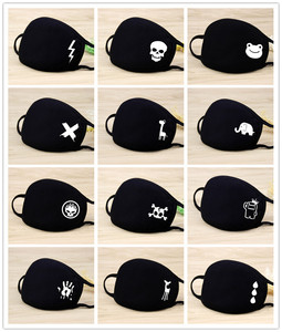 Image 2 - Black Cartoon Animal Mask Printed Lightning Dustproof Cycling Muffle Unisex Winter Thicken Cotton Half Face Mouth Mаск 20*12.5CM