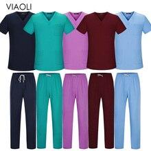 Viaoli Unisex Short Sleeved tops pants Doctor clothing work clothes men nursing uniform scrubs women scrub sets nurse uniform