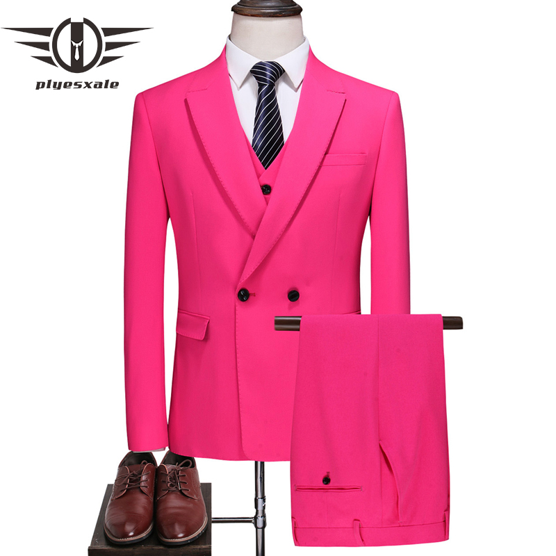 Plyesxale Rose Red Wedding Tuxedo Suit Men Slim Fit Luxury Mens Formal Suit Pink Fuchsia Red Yellow 3 Pieces Suits Male Q713