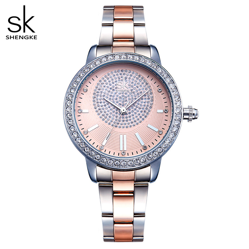 Shengke Bracelet Women Watch New Quartz Top Brand Luxury Fashion Crystal Wristwatches Ladies Gift Relogio Feminino